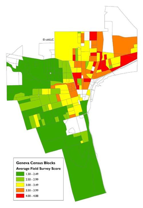 "[property conditions as rated by consultants to City of Geneva government…green = ""best condition""]"